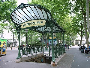 Paris Métro - Hector Guimard's original Art Nouveau entrance of the Paris Métro in Abbesses station