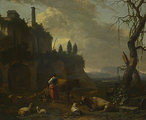 Peasants with Cattle by a Ruin