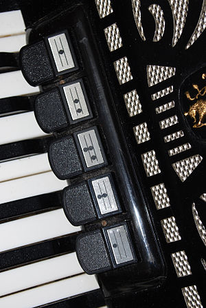 Accordion reed ranks and switches - Right-hand manual register switches. This accordion has 3 different voices.