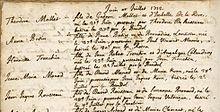 Page de registre manuscrit.