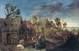 Village Scene with Men Drinking