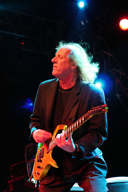 Adrian Belew in 2006. Belew's approach to guitar parts on the album improved Reznor's confidence in the instrument. Adrian Belew (2006 - 02).jpg