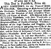 "Advert that opens ""This day is published, price 6d, A New Directory for the town of Manchester"""