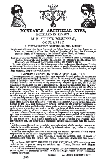 Auguste Boissonneau - Advertisement from Boissonneau in The Medical Directory for Scotland, 1854