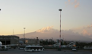 Catania–Fontanarossa Airport - The airport's apron with the Etna volcano visible in the background