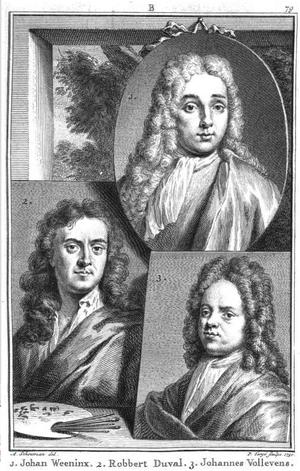 """Robbert Duval (1639–1732) - Portrait of Robbert Duval (lower left) in Jan van Gool's """"Nieuw Schouburg"""", 1750"""