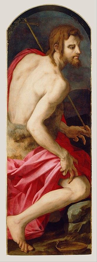Deposition of Christ (Bronzino) - Bronzino. St John the Baptist. c. 1542-45. Getty Center.
