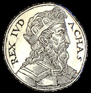 Ahaz - Ahaz from Guillaume Rouillé's Promptuarii Iconum Insigniorum, 1553