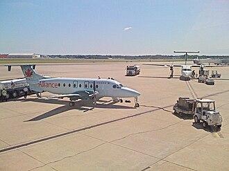 Air Georgian - An Air Georgian Beechcraft 1900D (left) at Bradley International Airport in Air Alliance livery