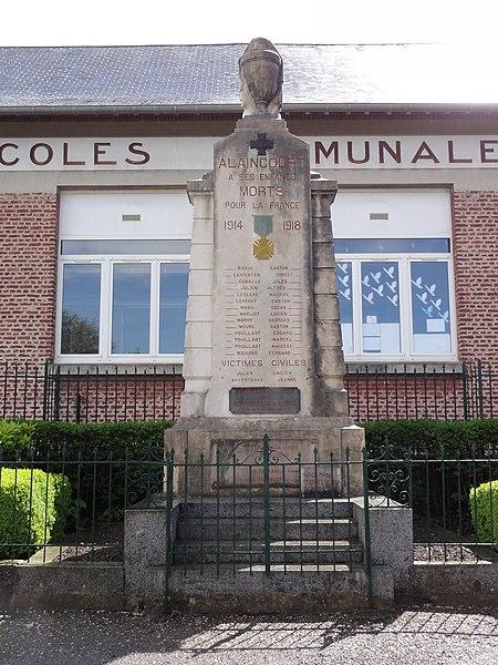 Alaincourt (Aisne) monument aux morts