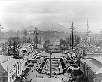 University of Washington - Alaska-Yukon-Pacific Exposition on the UW campus toward Mount Rainier in 1909