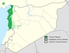 Map of Syria, with Alawite regions (near the coast) in green