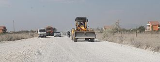 Highways in Albania - Typical construction work along SH1 near the border with Montenegro