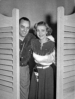 Gösta Bernhard og Alice Babs under indspilningen af filmen Drømmeferie 1952.