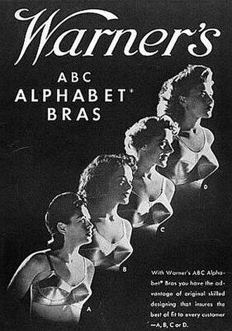 Bra size - Warner's 1944 advertisement for bra sizes A through D.