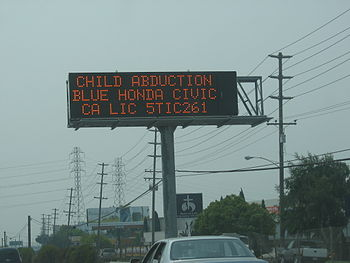 AMBER Alert highway sign alerting motorists to...
