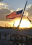 American Flag at half-mast, USS Blue Ridge (LCC-19) (39491231895).jpg