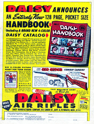Daisy Outdoor Products - Daisy air rifle ad in a '40s era comic book