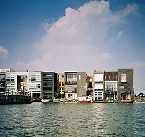 "N. John Habraken - 1997, Amsterdam Scheepstimmermanstraat, ""Cubist style"". Master plan and coordination West 8 (Adriaan Geuze), design of houses by different architects with individual clients"
