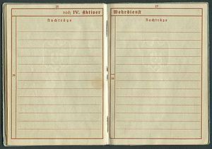 Amtsdokument Paul Fischer 1937 Leutnant Wehrpass Luftwaffe Seite 28 29 noch Aktiver Wehrdienst Nachträge.jpg