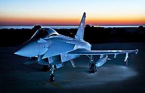 RAF Akrotiri - An 11 Squadron Eurofighter Typhoon parked at RAF Akrotiri