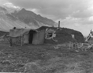 Anaktuvuk Pass, Alaska - A sod house in Anaktuvuk Pass in 1957, shortly after the village was established.