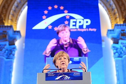Angela Merkel at the 2012 congress of the European People's Party (EPP) Angela Merkel (9307201890).jpg