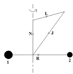 Rotational transition - Vector addition triangle for orbital angular momentum of a diatomic molecule with components of orbital angular momentum of nuclei and orbital angular momentum of electrons, neglecting coupling between electron and nuclear orbital motion and spin-dependent coupling.Since angular momentum N of nuclei is perpendicular to internuclear vector R, components of electronic angular momentum L and total angular momentum J along R are equal.