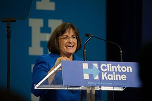 Ann McLane Kuster - Kuster speaks at a Hillary Clinton presidential rally at Southern New Hampshire University in 2016.