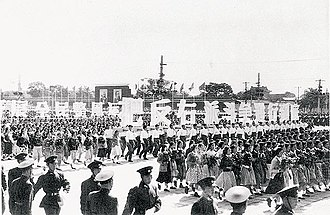 Anti-Rightist Campaign - One of many 1950s Chinese parades showing support for the communist political movement.