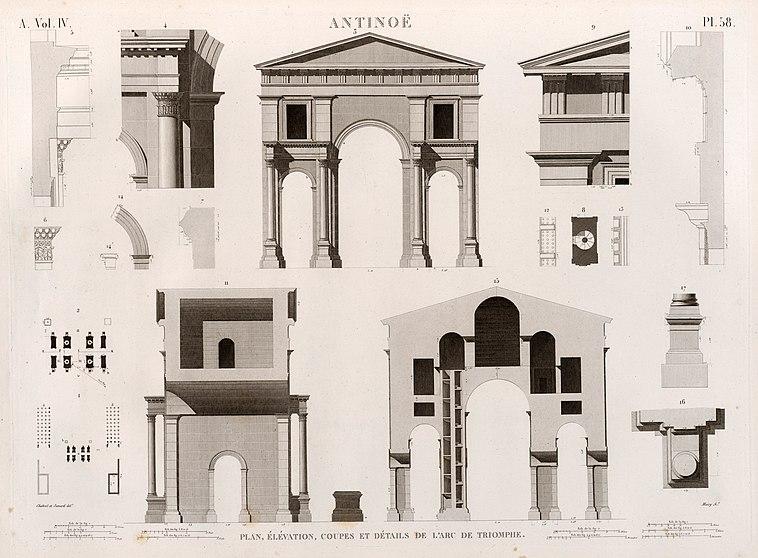 File:Antinoë (Antinoöpolis). Plan, élévation, coupes et détails de l'arc de triumphe (NYPL b14212718-1268153).jpg