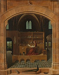 Oil on panel. The saint is a plump man in a red robe. His red cardinal's hat lies near him on a chair. There are many small details such as books and potplants. A peacock and partidge are walking near the arch that frames the scene