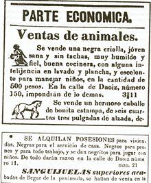Anuncio venta de esclavos