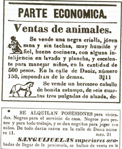 Anuncios publicados en la prensa cubana de La Habana, en 1839.