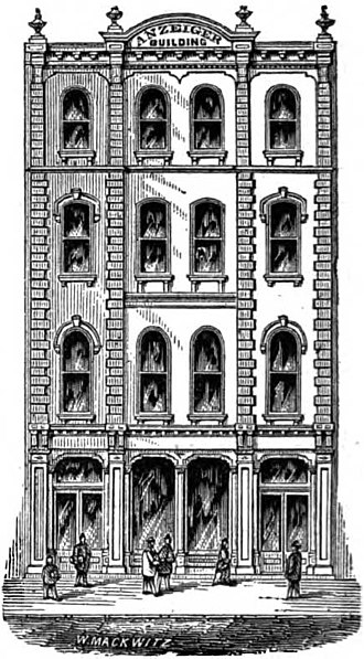 Anzeiger des Westens - Anzeiger des Westens building,  in a woodcut from 1887 St. Louis, Missouri, USA