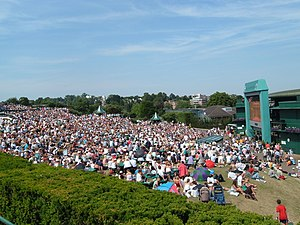 All England Lawn Tennis and Croquet Club - People sitting on Aorangi terrace, watching main matches on the large screen