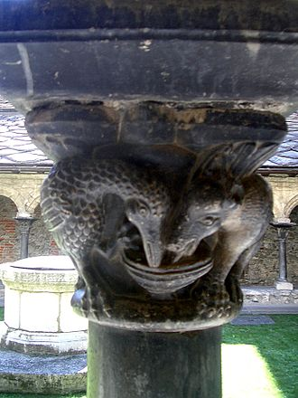 Aesop's Fables - 12th-century pillar, cloister of the Collegiata di Sant'Orso, Aosta: the Fox and the Stork
