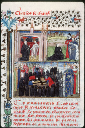Apparition of Charles the Bald after his death and burial in Saint Denis Apparition Charles le chauve.jpg