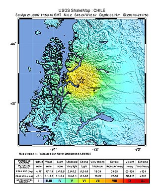 2007 Aysén Fjord earthquakes - USGS ShakeMap for the mainshock