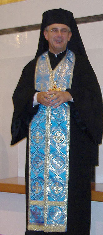 Epitrachelion - Melkite Catholic Archimandrite vested in an epitrachelion and a pectoral cross
