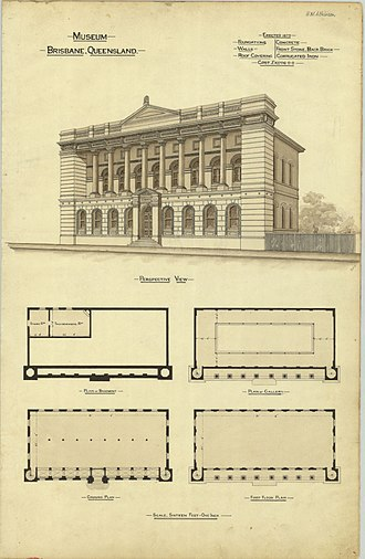Old State Library Building, Brisbane - Architectural plans, 1888