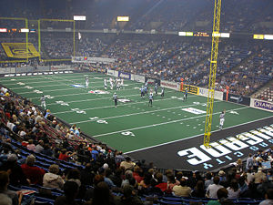 Arena football - Colorado Crush (white) at the Kansas City Brigade (light blue).