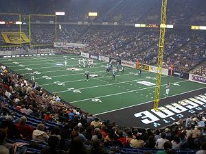 Arena football - Colorado Crush (white) at the Kansas City Brigade (light blue).