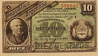 Argentine peso moneda nacional - 10 Centavos 1884
