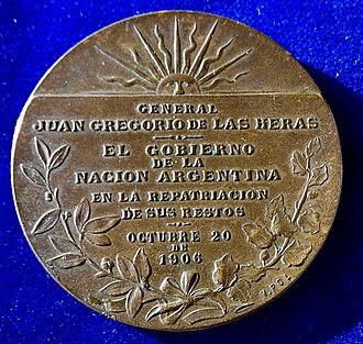 Juan Gregorio de las Heras - The reverse of this medal.