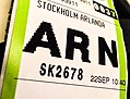 Arlanda ARN Stockholm Baggage tag with airport code (17488593182).jpg