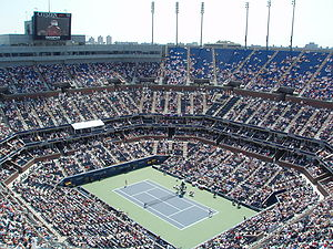 Tenniskamp på Arthur Ashe Stadium fra US Open 2007.