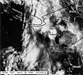 Ash cloud, with Seattle, Tacoma, and Yakima, and Portland Oregon, and Mount St Helens marked for reference, May 18,1980 (GLACIERS 7182).jpg