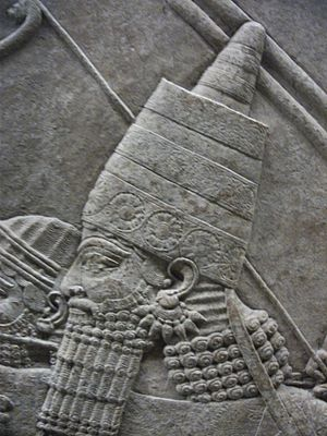 Ashurbanipal - The king, detail from the Lion Hunt of Ashurbanipal