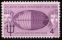 A U.S. postage stamp commemorating the atlantic cable.